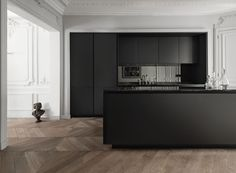 OMG - wall mouldings, Matte black kitchen with smoked mirror splashback Kitchen Inspirations, House Design, Black Kitchens, Interior, Home, Modern Kitchen, House Interior, Home Kitchens, Interior Design