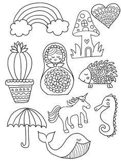 DIY Shrinky Dinks Template featuring rainbow, cactus, heart, hedgehog, mushroom…
