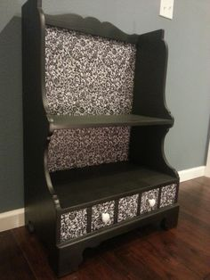 Black and white upcycled 1950's entryway shelf with a black and white damask decorative backing and a cute little drawer