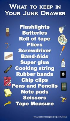 """What to Keep in Your Junk Drawer image - this just about sums up what's in our """"junk"""" drawer!"""