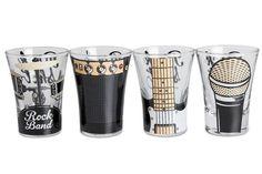Kit 4 copos de Shot Rock Band