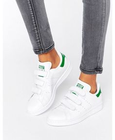 Adidas Stan Smith Womens Velcro Trainers In White Green