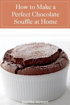 Follow our recipe for a classic chocolate souffle that is baked to perfection and full of chocolate flavor that everyone will enjoy. Make this classic baked good at home this holiday season. #marthastewartliving #holidaydessert #easydessertrecipe #easyrecipes