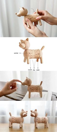 Wooden  Dog Shape Desk Perpetual Calendar