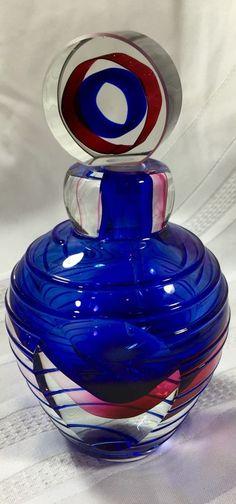 Murano Sommerso Submerged Art Glass perfume/scent Bottle & Stopper BLUE PINK VTG