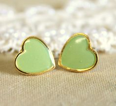 Minty seafoam  Heart gold stud  earring -petit elegant 14k gold coated post earrings. $18.00, via Etsy.