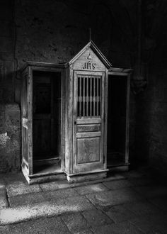 Traditional confession booth, associated predominantly with the Catholic religion. Involves two people- confessor and listener. This concept to be changed, private, individual space.