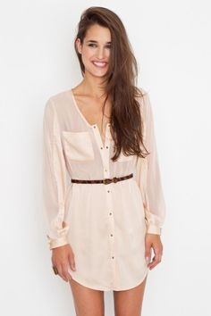 sheer pink shirtdress