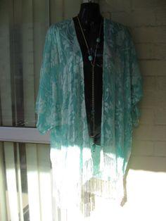 15%OFF..Stunning Sheer Soft Aqua Blue Topaz Hand-dyed SILK Burnout Velvet Fringe Gypsy Stevie Nicks Kimono Jacket Top  O/S