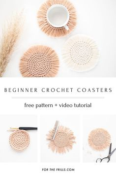 Boho Crochet Coasters - free pattern + video tutorial - for the frills Crochet Simple, Crochet Diy, Crochet Crafts, Crochet Fringe, Crochet Home Decor, Diy Crafts, Boho Crochet Patterns, Macrame Patterns, Crochet Stitches