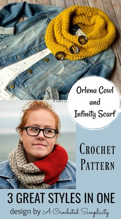 Crochet Pattern - Orlena Cowl & Infinity Scarf by A Crocheted Simplicity