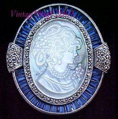 Sapphire Cameo Pin/Pendant