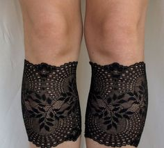 Lace Boot Cuff Socks, Black on Gold thread lace - boot topper - wellies boot cuff , lace leg warmers  /READY TO SHIP