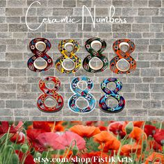 Tile House Numbers, Ceramic House Numbers, House Number Plaque, Mailbox Numbers, Door Numbers, Ceramic Houses, Ceramic Clay, Tiles Price, Wall Tiles