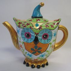 Ceramic OWL Teapot Hand Painted Novelty Collectable TEA POT Blue Green Gold | eBay