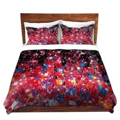 STARLIGHT Pink Purple Galaxy Fine Art Duvet Covers by EbiEmporium, Elegant Bold Abstract Acrylic Painting Deep Violet Eggplant Purple Hot Pink Fuchsia Magenta Crimson Red Home Decor Colorful Modern Bedroom Bedding Decoration Decorative Dorm Room Style Outer Space Cosmic Galactic Cosmos Stars Ombre Bold Fun Girly Feminine Design
