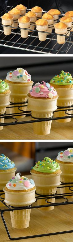 Cupcake cones?! // easily made with this special non-stick baking rack... yes please! #product_design