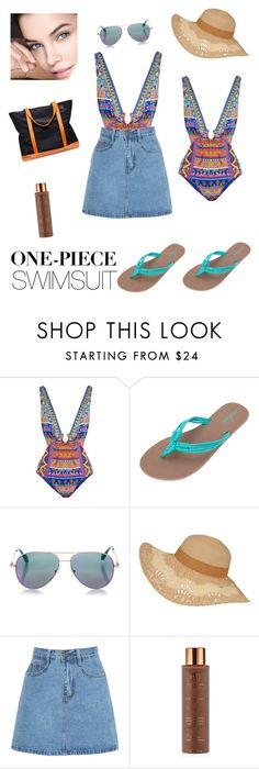 """""""bronze time"""" by prettycarole ❤ liked on Polyvore featuring Camilla, Volcom, Cutler and Gross, Vita Liberata, Frontgate and onepieceswimsuit"""