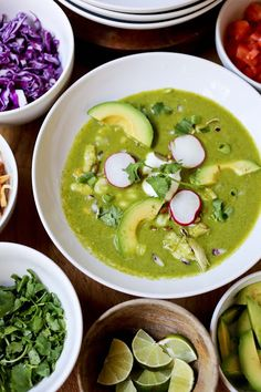 "Mexican Posole Verde Soup with poblanos, chicken, hominy, cilantro and a fun assortment of toppings .....learn how to throw a ""Posole Party""!"