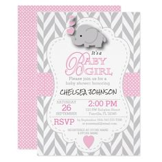 467 best elephant baby shower invitations images on pinterest in pink white gray elephant baby shower invitation filmwisefo