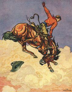 Horse and Cowboy Art   Cowboy on a Bucking Horse - 1938 Illustration