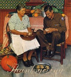 famous thanksgiving paintings images | Thanksgiving Mother And Son Peeling Potatoes - Norman Rockwell ...