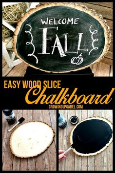 Wood slice crafts are rustic and charming! Make a wood slice in to a chalkboard and personalize for the changing seasons. This easy DIY is great for kids, weddings, center pieces and more.