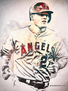 Mike Trout Los Angeles Angels Of Anaheim Baseball Posters Baseball Art Baseball Photos
