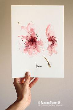 Impression d'art aquarelle fleur de cerisier par ColorWatercolor