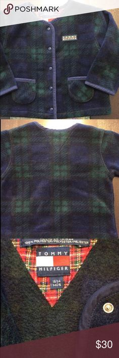Tommy Hilfiger Blue/Green Plaid Fleece Jacket Tommy Hilfiger * Size 18/24 Month * Unisex * Blue and Green Plaid Fleece * Snap Closure * 100% Polyester * Great Condition  Visit @KellysCache for Women's Fashion  Visit @MensStyleHouse for Top Brand Men's Fashion Tommy Hilfiger Jackets & Coats