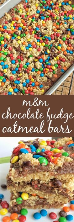 M&M Chocolate Fudge Oatmeal Bars- Together as Family blog