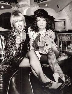 Joanna Lumley and Jennifer Saunders as Patsy and Edina in Ab Fab