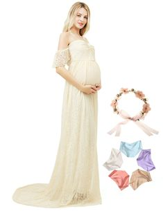 92abfe74d5 Women Maternity Clothes - Lace Photography Maternity Dress Short Sleeve Off  Shoulder Photoshoot Maxi Gown Apricot S ** Look into this fantastic product.