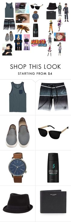 """Shino Aburame Shippuden: Trouble at the Beach"" by sasukeuchiha87 ❤ liked on Polyvore featuring RVCA, Quiksilver, Komono, Axe, BKE, Yves Saint Laurent, men's fashion and menswear"
