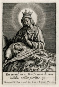 A 17th century engraving by Hieronymus Wierix depicting Mary watching over Jesus while He is sleeping.