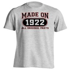 94th Birthday Gift T-Shirt - Made In 1922 All Original Parts - Short Sleeve Mens T-Shirt