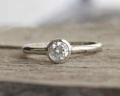 Simple Solitaire Diamond Engagement Ring in 14K by Studio1040, $900.00