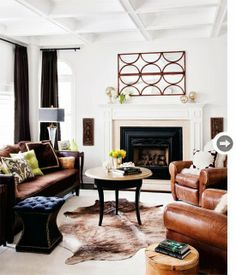 Basement-Cognac leather and white walls
