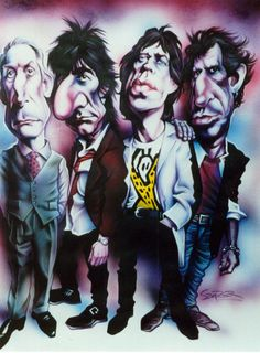 Rolling Stones 1994 by JSaurer. The Rolling Stones. Rock And Roll Bands, Rock Bands, Rock N Roll, Cartoon Faces, Funny Faces, Heavy Metal, Rolling Stones Logo, Rollin Stones, Celebrity Caricatures