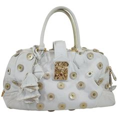 For Sale on - Creme canvas. Zip closure at top and S-lock closure at front flap. Logo printed disc embellishments throughout Cheap Handbags, How To Make Handbags, Tote Handbags, Louis Vuitton Handbags Black, Vintage Louis Vuitton, Designer Totes, Fashion Handbags, Monogram, Brass Hardware