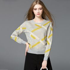 Autumn Winter Women Sweaters and Pullovers striped Long Sleeve Knitted Sweater female slim casual Bottoming warm knitted top #Affiliate