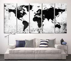 Grande tela stampa bianco e nero mondo mappa di ExtraLargeWallArt