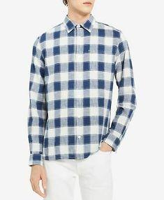 Ryan Seacrest Mens Button Down Micro Plaid Shirt Blue XL