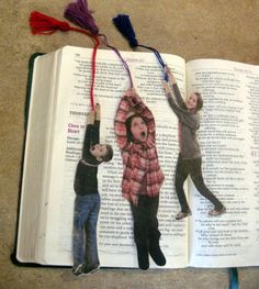 DIY picture bookmarks -Inspired by one of our ideas, reader Heather Humrichouse took and printed photos of her kids in climbing and rappelling poses. After cutting out the poses, she backed them using manila folders and sealed them in clear adhesive shelf liner. Now her kids are climbing the walls--or at least the fridge--and shimmying down books