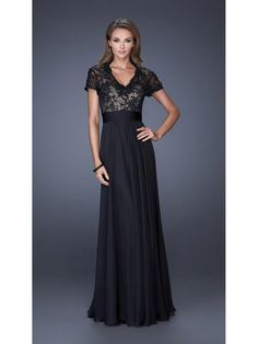 A-Line V-Neck Short Sleeves Lace long Mother of The Bride Dresses 1603030