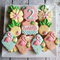 Flamingo Pineapple Let's Flamingle Tropical Hawaiian Luau Birthday Cookies Iced Cookies, Cute Cookies, Cookies Et Biscuits, Sugar Cookie Royal Icing, Cookie Frosting, Luau Birthday, Flamingo Birthday, Pineapple Cookies, Flamingo Cake