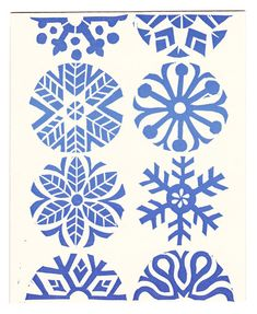 $18.00 - set of five Blue Snowflakes linocut block-printed greeting cards