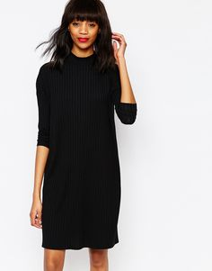 Image 1 of Monki High Neck Rib T-Shirt Dress