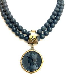 French Kande Double Black Jasper Joan of Arc Ministry Medallion Necklace