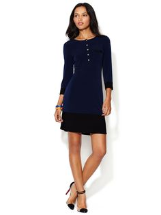 Contrast Shift Dress with Split Hem